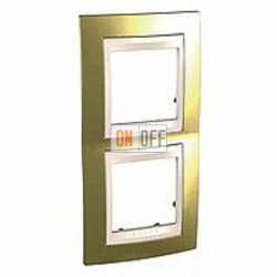 Рамка двойная, для вертик. монтажа Schneider Unica Хамелеон золото-бежевый MGU66.004V.504