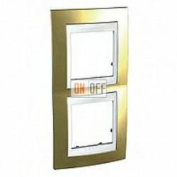 Рамка двойная, для вертик. монтажа Schneider Unica Хамелеон золото-белый MGU66.004V.804