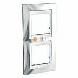Рамка двойная, для вертик. монтажа Schneider Unica Хамелеон серебро-белый MGU66.004V.810