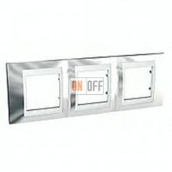 Рамка тройная, для горизонт. монтажа Schneider Unica Хамелеон серебро-белый MGU66.006.810