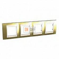 Рамка четверная, для горизонт. монтажа Schneider Unica Хамелеон золото-бежевый MGU66.008.504