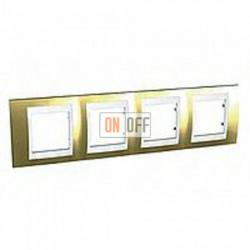 Рамка четверная, для горизонт. монтажа Schneider Unica Хамелеон золото-белый MGU66.008.804