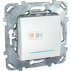 Выключатель одноклавишный с подсветкой, универс. (вкл/выкл с 2-х мест) 10 А / 250 В~  Schneider Unica белый MGU5.203.18NZD