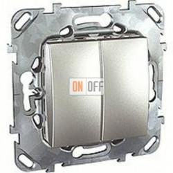 Выключатель двухклавишный, проходной (вкл/выкл с 2-х мест) 10 А / 250 В~ Schneider Unica алюминий MGU5.213.30ZD