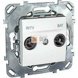 Розетка телевизионная оконечная TV SAT FM, диапазон частот от 4 до 2400 MГц  Schneider Unica белый MGU5.455.18ZD