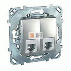 Розетка телефонная двойная RJ11 Schneider Unica алюминий MGU5.9090.30ZD