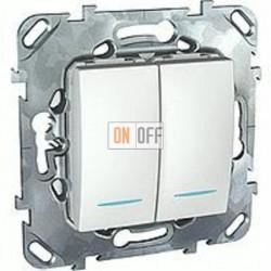Выключатель двухклавишный проходной (вкл/выкл с 2-х мест) с подсветкой, 10 А / 250 В~  Schneider Unica белый MGU5.0303.18NZD