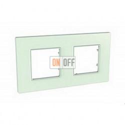 Рамка Schneider Unica Quadro двухместная пластиковая, цвет матовое стекло MGU2.704.17