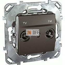 Розетка телевизионная оконечная TV FM, диапазон частот от 4 до 2400 MГц Schneider Unica графит MGU5.452.12ZD