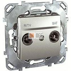 Розетка телевизионная оконечная TV SAT FM, диапазон частот от 4 до 2400 MГц Schneider Unica алюминий MGU5.455.30ZD