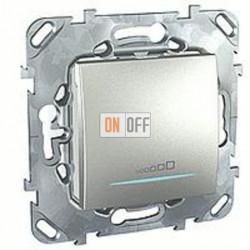 Светорегулятор клавишный универсальный 20-350 Вт. для ламп накал. и низковольтн.галог.ламп, 3-х проводное подключение Schneider Unica алюминий MGU5.515.30ZD