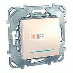 Выключатель одноклавишный перекрестный (вкл/выкл с 3-х мест) с подсветкой 10 А / 250 В~ Schneider Unica кремовый MGU5.205.25NZD