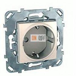 Розетка с заземляющими контактами 16 А / 250 В~ с защитой от детей  Schneider Unica кремовый MGU5.037.25ZD