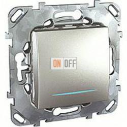 Выключатель одноклавишный с подсветкой, универс. (вкл/выкл с 2-х мест) 10 А / 250 В~ Schneider Unica алюминий MGU5.203.30NZD