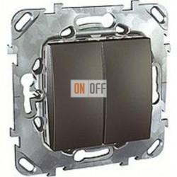 Выключатель двухклавишный, проходной (вкл/выкл с 2-х мест) 10 А / 250 В~ Schneider Unica графит MGU5.213.12ZD