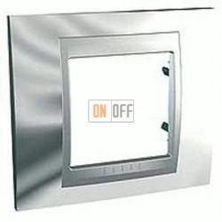 Рамка одинарная Schneider Unica TOP хром-алюминий MGU66.002.010