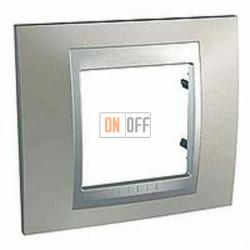 Рамка одинарная Schneider Unica TOP никель-алюминий MGU66.002.039