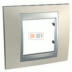 Рамка одинарная Schneider Unica TOP опал-алюминий MGU66.002.095