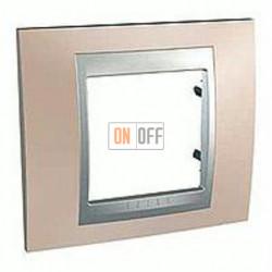 Рамка одинарная Schneider Unica TOP оникс-алюминий MGU66.002.096