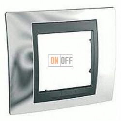 Рамка одинарная Schneider Unica TOP хром-графит MGU66.002.210