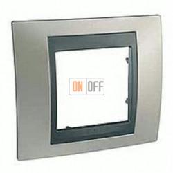 Рамка одинарная Schneider Unica TOP никель-графит MGU66.002.239
