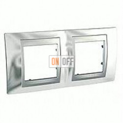 Рамка двойная, для горизонт. монтажа Schneider Unica TOP хром-алюминий MGU66.004.010