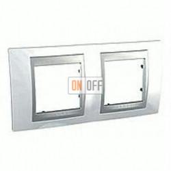 Рамка двойная, для горизонт. монтажа Schneider Unica TOP нордик-алюминий MGU66.004.092
