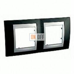Рамка двойная, для горизонт. монтажа Schneider Unica TOP родий-алюминий MGU66.004.093