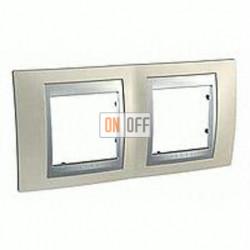 Рамка двойная, для горизонт. монтажа Schneider Unica TOP опал-алюминий MGU66.004.095