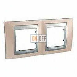 Рамка двойная, для горизонт. монтажа Schneider Unica TOP оникс-алюминий MGU66.004.096