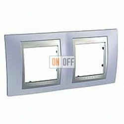 Рамка двойная, для горизонт. монтажа Schneider Unica TOP берилл-алюминий MGU66.004.098