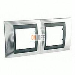 Рамка двойная, для горизонт. монтажа Schneider Unica TOP хром-графит MGU66.004.210