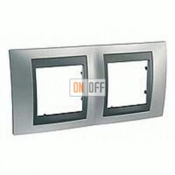 Рамка двойная, для горизонт. монтажа Schneider Unica TOP хром матовый-графит MGU66.004.238