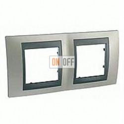 Рамка двойная, для горизонт. монтажа Schneider Unica TOP никель-графит MGU66.004.239