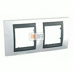 Рамка двойная, для горизонт. монтажа Schneider Unica TOP нордик-графит MGU66.004.292