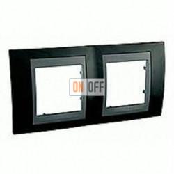 Рамка двойная, для горизонт. монтажа Schneider Unica TOP родий-графит MGU66.004.293