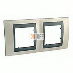 Рамка двойная, для горизонт. монтажа Schneider Unica TOP опал-графит MGU66.004.295