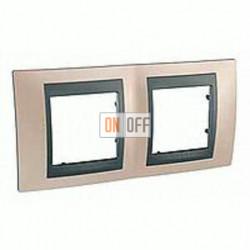 Рамка двойная, для горизонт. монтажа Schneider Unica TOP оникс-графит MGU66.004.296