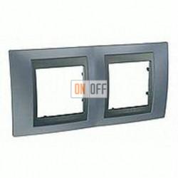 Рамка двойная, для горизонт. монтажа Schneider Unica TOP грей-графит MGU66.004.297