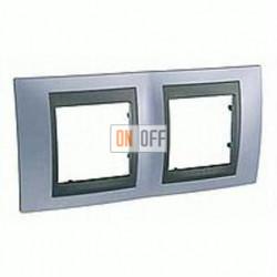 Рамка двойная, для горизонт. монтажа Schneider Unica TOP берилл-графит MGU66.004.298