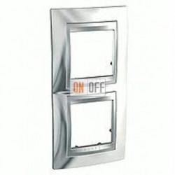 Рамка двойная, для вертик. монтажа Schneider Unica TOP хром-алюминий MGU66.004V.010
