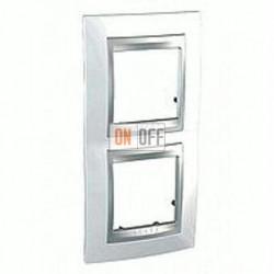 Рамка двойная, для вертик. монтажа Schneider Unica TOP нордик-алюминий MGU66.004V.092