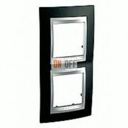 Рамка двойная, для вертик. монтажа Schneider Unica TOP родий-алюминий MGU66.004V.093