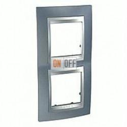 Рамка двойная, для вертик. монтажа Schneider Unica TOP грей-алюминий MGU66.004V.097
