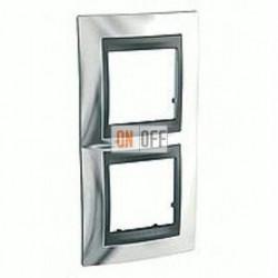 Рамка двойная, для вертик. монтажа Schneider Unica TOP хром-графит MGU66.004V.210