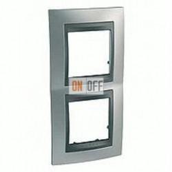 Рамка двойная, для вертик. монтажа Schneider Unica TOP хром матовый-графит MGU66.004V.238