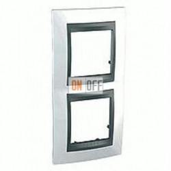 Рамка двойная, для вертик. монтажа Schneider Unica TOP нордик-графит MGU66.004V.292