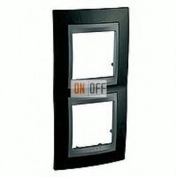 Рамка двойная, для вертик. монтажа Schneider Unica TOP родий-графит MGU66.004V.293