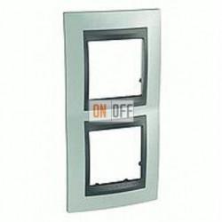 Рамка двойная, для вертик. монтажа Schneider Unica TOP флюорит-графит MGU66.004V.294