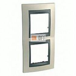 Рамка двойная, для вертик. монтажа Schneider Unica TOP опал-графит MGU66.004V.295